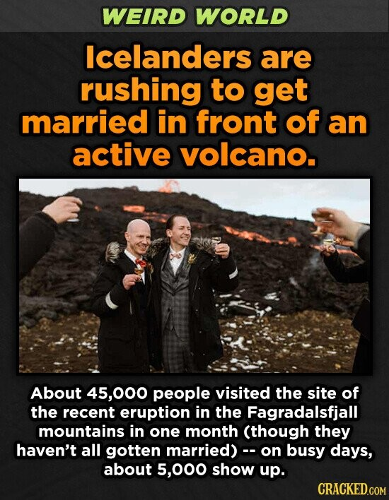 WEIRD WORLD lcelanders are rushing to get married in front of an active volcano. About 45,000 people visited the site of the recent eruption in the Fagradalsfjall mountains in one month (though they haven't all gotten married)c- on busy days, about 5,000 show up.