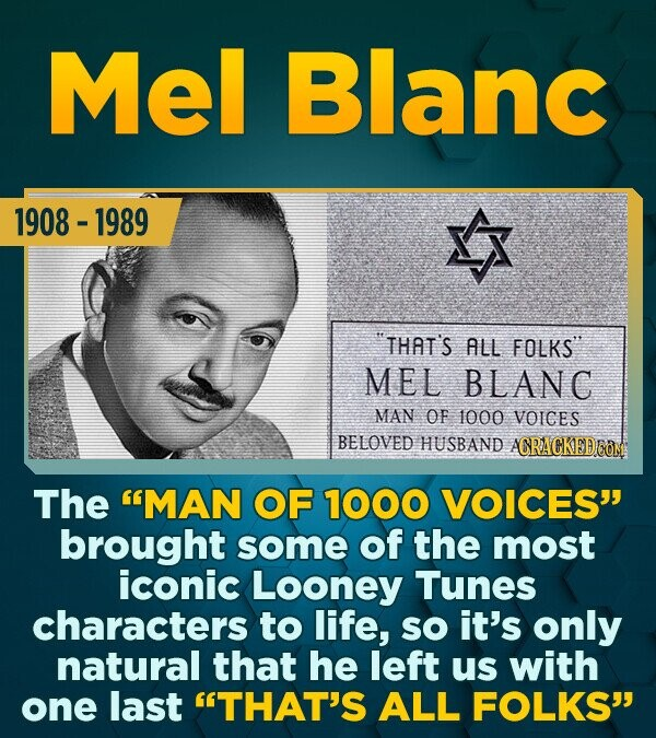 Mel Blanc 1908 -1989 THAT'S ALL FOLKS MEL BLANC MAN OF 1000 VOICES BELOVED HUSBAND ACRACKED ONM The MAN OF 1000 VOICES brought some of the most ico