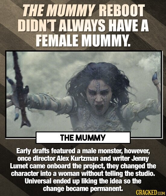 THE MUMMY REBOOT DIDN'T ALWAYS HAVE A FEMALE MUMMY. THE MUMMY Early drafts featured a male monster, however, once director Alex Kurtzman and writer Jenny Lumet came onboard the project, they changed the character into a woman without telling the studio. Universal ended up liking the idea so the change