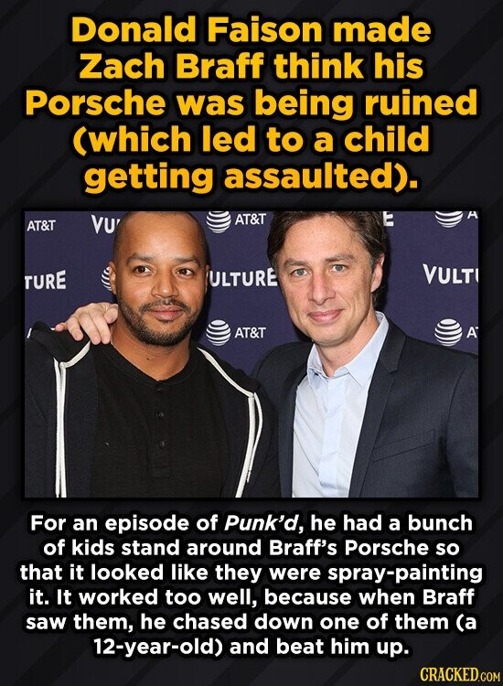 Donald Faison made Zach Braff think his Porsche was being ruined (which led to a child getting assaulted). AT&T VU' AT&T TURE ULTURE VULT AT&T A For an episode of Punk'd, he had a bunch of kids stand around Braff's Porsche so that it looked like they were spray-painting it.