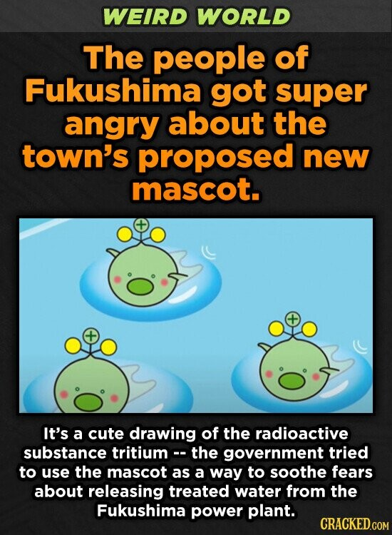 WEIRD WORLD The people of Fukushima got super angry about the town's proposed new mascot. It's a cute drawing of the radioactive substance tritium- the government tried to use the mascot as a way to soothe fears about releasing treated water from the Fukushima power plant.