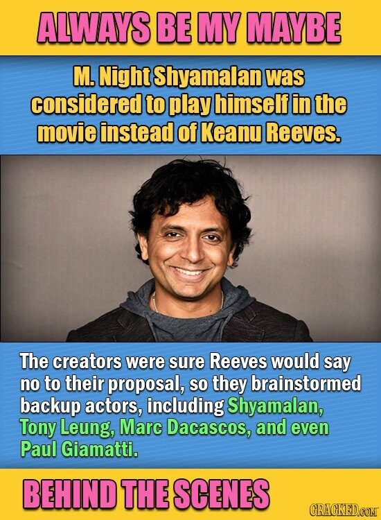 ALWAYS BE MY MAYBE M. Night Shyamalan was considered to play himself in the movie instead of Keanu Reeves. The creators were sure Reeves would say no to their proposal, so they brainstormed backup actors, including Shyamalan, Tony Leung, Marc Dacascos, and even Paul Giamatti. BEHIND THE SCENES