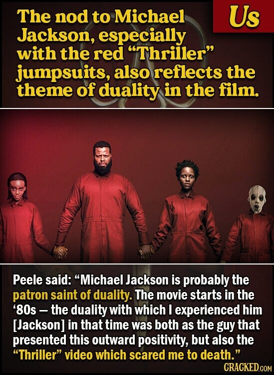 The nod to Michael Us Jackson, especially with the reD Thriller jumpsuits, also reflects the theme of duality in the film. Peele said: Michael Jackson is probably the patron saint of duality. The movie starts in the '80s - the duality with which I experienced him [Jackson] in that time was