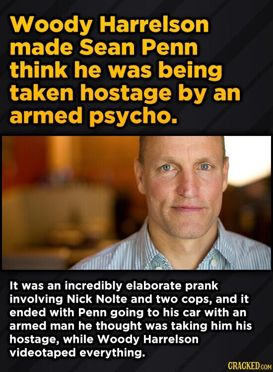 Woody Harrelson made Sean Penn think he was being taken hostage by an armed psycho. It was an incredibly elaborate prank involving Nick Nolte and two cops, and it ended with Penn going to his car with an armed man he thought was taking him his hostage, while Woody Harrelson