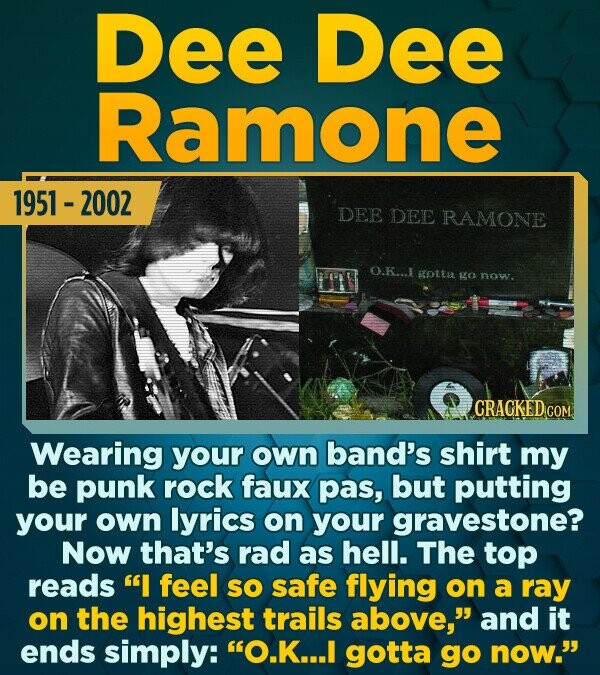 Dee Dee Ramone 1951 -2002 DEE DEE RAMONE O.K...1 Kotta go now. CRACKED CON Wearing your own band's shirt my be punk rock faux pas, but putting your ow