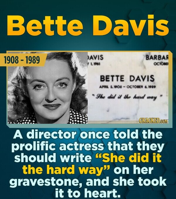 Bette Davis 1908 - 1989 DAVIS BARBAR E 16I OCICES BETTE DAVIS APRL nod OCTOBER 18 The did il the had ay A director once told the prolific actress that