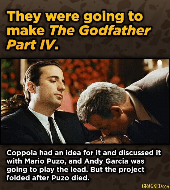 They were going to make The Godfather Part IV. Coppola had an idea for it and discussed it with Mario Puzo, and Andy Garcia was going to play the lead. But the project folded after Puzo died.