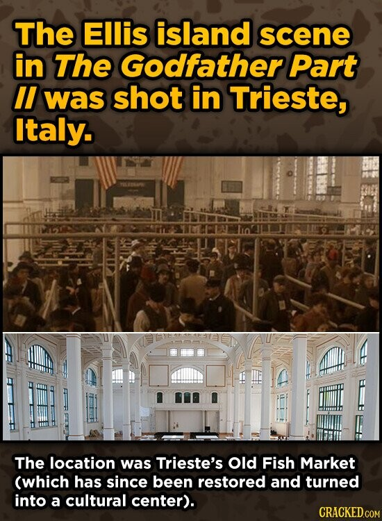 The Ellis island scene in The Godfather Part II was shot in Trieste, Italy. The location was Trieste's Old Fish Market (which has since been restored and turned into a cultural center).