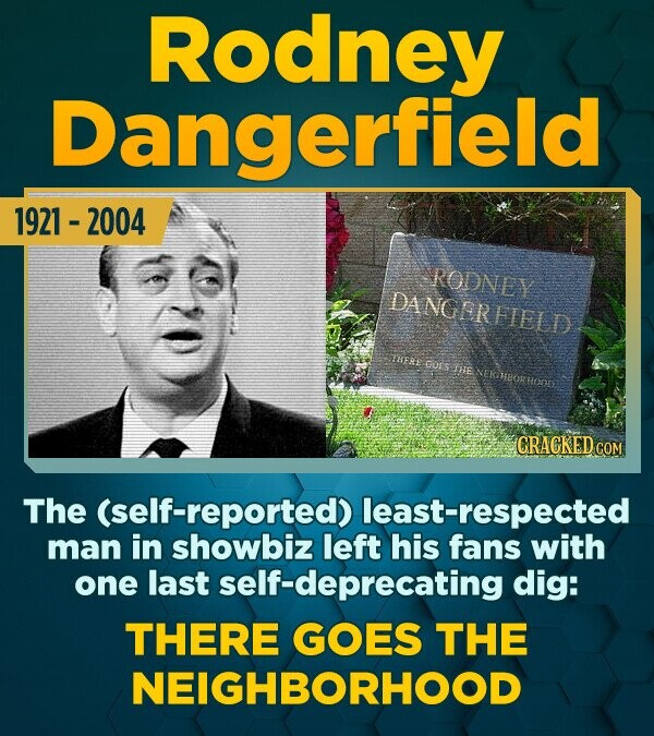 Rodney Dangerfield 1921 - 2004 RODNEY DANGERFIELD TISERE GUS HE NEKHBORHOOES CRACKED cO The (self-reported) least-respected man in showbiz left his fa
