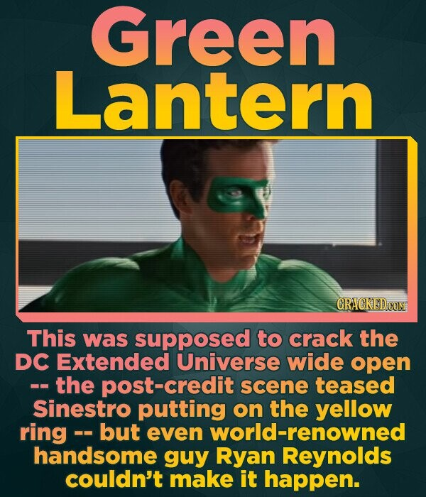 Green Lantern This was supposed to crack the DC Extended Universe wide open -the post-credit scene teased Sinestro putting on the yellow ring- but eve