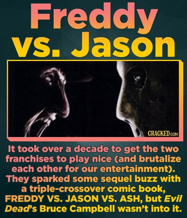 Freddy VS. Jason It took over a decade to get the two franchises to play nice (and brutalize each other for our entertainment). They sparked some sequ