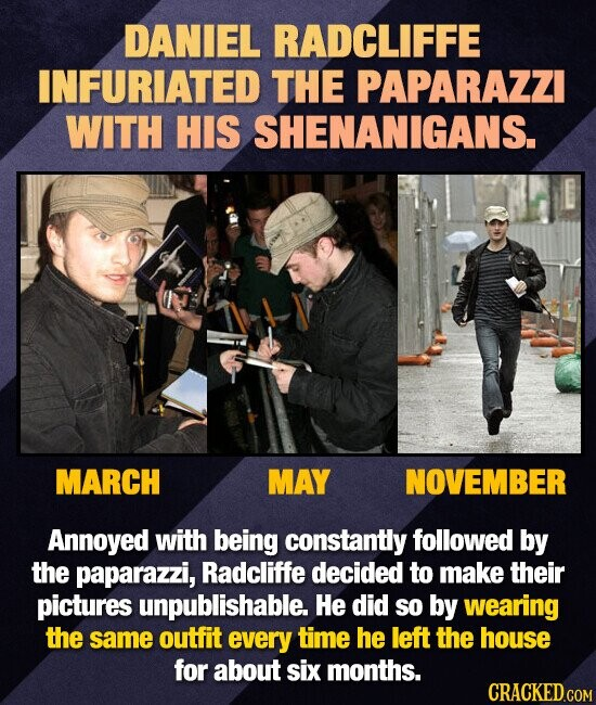 DANIEL RADCLIFFE INFURIATED THE PAPARAZZI WITH HIS SHENANIGANS. MARCH MAY NOVEMBER Annoyed with being constantly followed by the paparazzi, Radcliffe