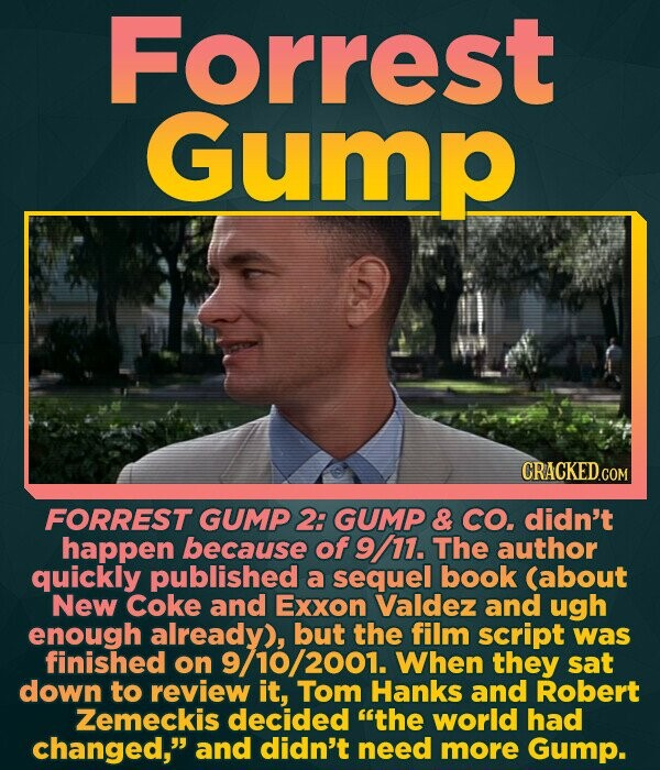 Forrest Gump FORREST GUMP 2: GUMP & CO. didn't happen because of 9 11. The author quickly published a sequel book (about New Coke and Exxon Valdez and