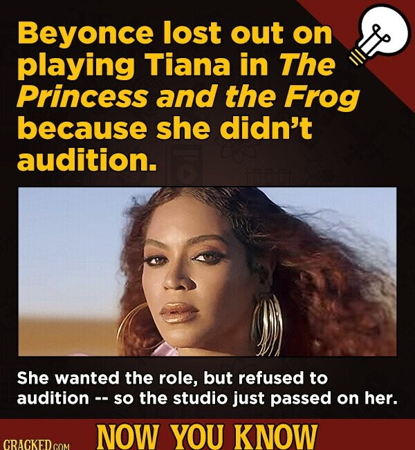 Beyonce lost out on playing Tiana in The Princess and the Frog because she didn't audition. She wanted the role, but refused to audition -- so the studio just passed on her. NOW YOU KNOW