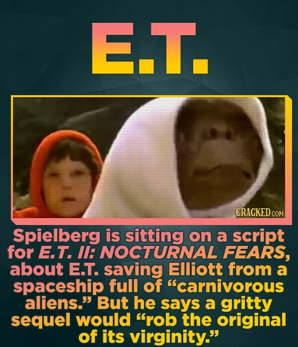 E.T. Spielberg is sitting on a script for E.T. Il: NOCTURNAL FEARS, about E.T. saving Elliott from a spaceship full of carnivorous aliens. But he sa