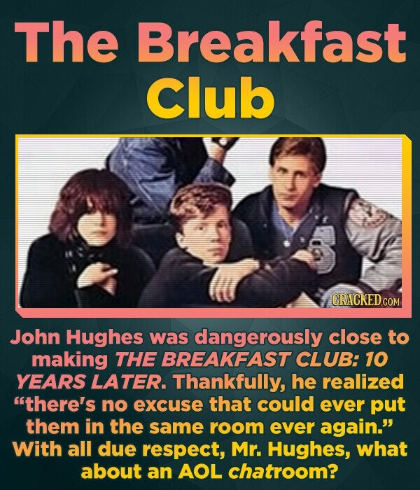 The Breakfast Club CRACKED COM John Hughes was dangerously close to making THE BREAKFAST CLUB: 10 YEARS LATER. Thankfully, he realized there's no exc