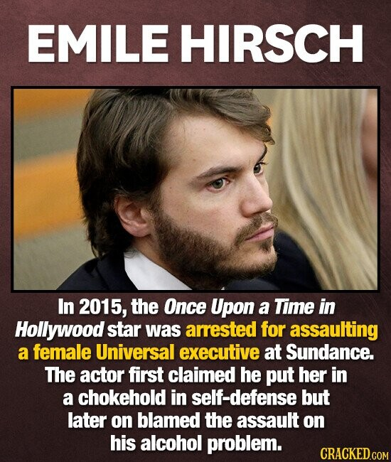 EMILE HIRSCH In 2015, the Once Upon a Time in Hollywood star was arrested for assaulting a female Universal executive at Sundance. The actor first claimed he put her in a chokehold in self-defense but later on blamed the assault on his alcohol problem.