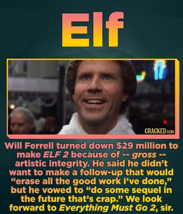 Elf Will Ferrell turned down $29 million to make ELF 2 because of gross- artistic integrity. He said he didn't want to make a follow-up that would er