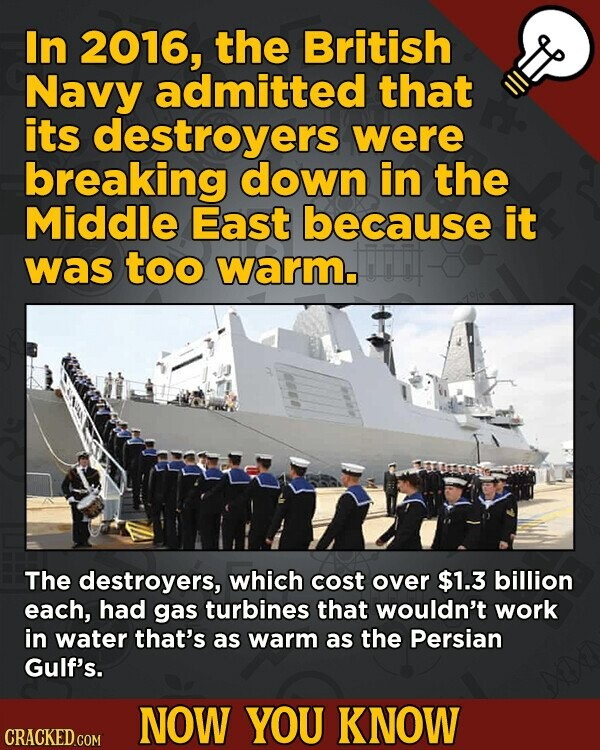 In 2016, the British Navy admitted that its destroyers were breaking down in the Middle East because it was too warm. The destroyers, which cost over $1.3 billion each, had gas turbines that wouldn't work in water that's as warm as the Persian Gulf's. NOW YOU KNOW CRACKED.COM