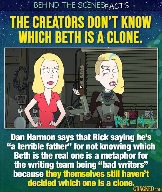 BEHIND-THE-SCENES SFACTS THE CREATORS DON'T KNOW WHICH BETH IS A CLONE. Rick Mor AN Dan Haron says that Rick saying he's a terrible father for not knowing which Beth is the real one is a metaphor for the writing team being bad writers' because they themselves still haven't decided which