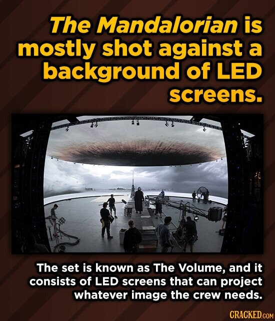 The Mandalorian is mostly shot against a background of LED screens. The set is known as The Volume, and it consists of LED screens that can project whatever image the crew needs.