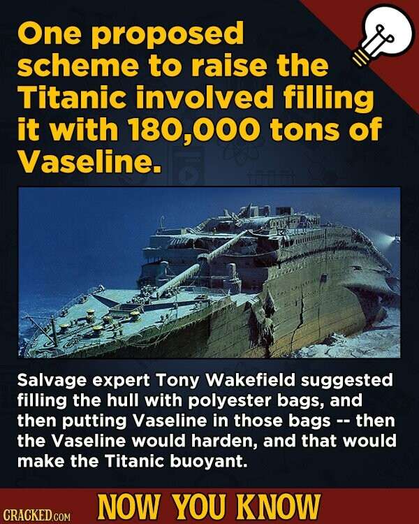 One proposed scheme to raise the Titanic involved filling it with 180,000 tons of Vaseline. Salvage expert Tony Wakefield suggested filling the hull with polyester bags, and then putting Vaseline in those bags then the Vaseline would harden, and that would make the Titanic buoyant. NOW YOU KNOW CRACKED.COM