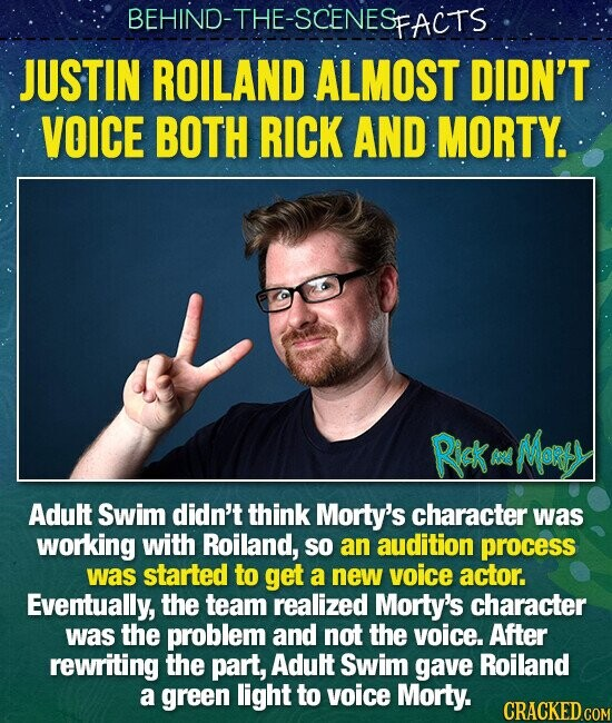 BEHIND-THE-SCENESP PFACTS JUSTIN ROILAND ALMOST DIDN'T VOICE BOTH RICK AND MORTY. Rick MoRtY 2 Adutt Swim didn't think Morty's character was working with Roiland, SO an audition process was started to get a new voice actor. Eventually, the team realized Morty's character was the problem and not the voice. After