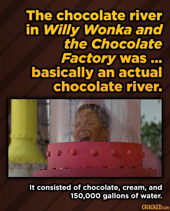 The chocolate river in Willy Wonka and the Chocolate Factory was.. basically an actual chocolate river. It consisted of chocolate, cream, and 150,000 gallons of water.