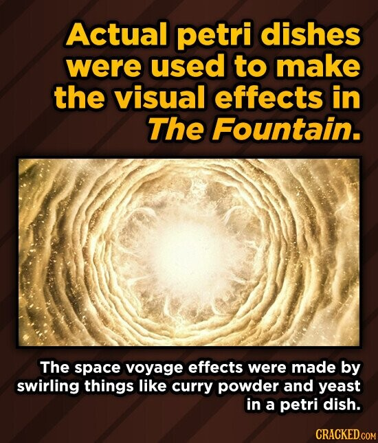 Actual petri dishes were used to make the visual effects in The Fountain. The space voyage effects were made by swirling things like curry powder and yeast in a petri dish.
