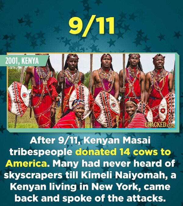 9/11 2001, KENYA CRACKED CONT After 9/11, Kenyan Masai tribespeople donated 14 COWS to America. Many had never heard of skyscrapers till Kimeli Naiyom