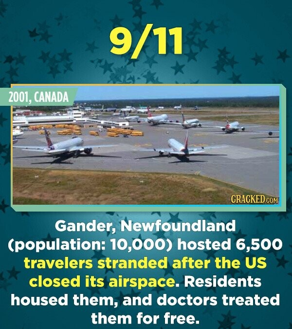 9/11 2001, CANADA CRACKED CO Gander, Newfoundland (population: O00) hosted 6,500 travelers stranded after the US closed its airspace. Residents housed