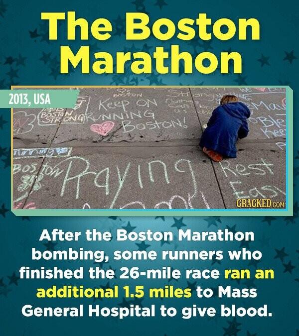 The Boston Marathon 2013, USA BoON ON RAONGRUNNISTON! rar97 B0S fton Rayin CRACKED CON After the Boston Marathon bombing, some runners who finished th