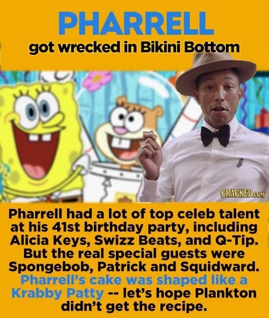 PHARRELL got wrecked in Bikini Bottom CRAGKEDCOM Pharrell had a lot of top celeb talent at his 41st birthday party, including Alicia Keys, Swizz Beats, and Q-Tip. But the real special guests were Spongebob, Patrick and Squidward. Pharrell's cake was shaped like a Krabby Patty -let's hope Plankton didn't get