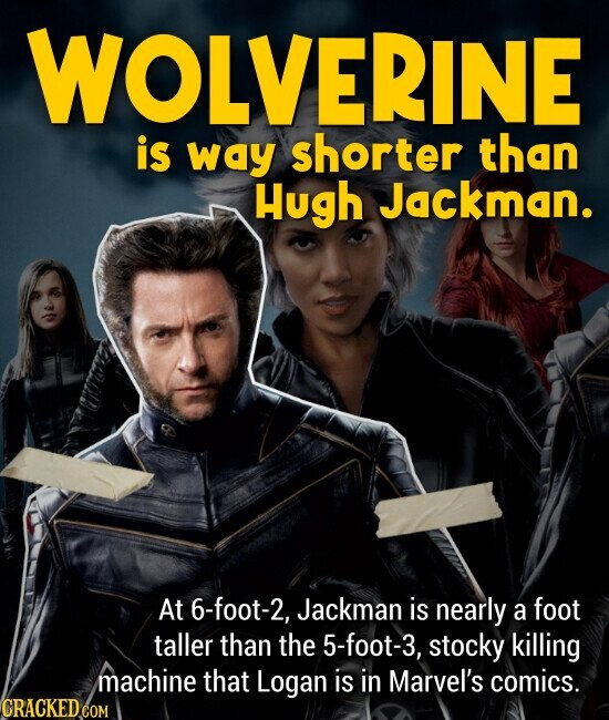 WOLVERINE is way shorter than Hugh Jackman. At 6-foot-2, Jackman is nearly a foot taller than the 5-foot-3, stocky killing machine that Logan is in Marvel's comics.