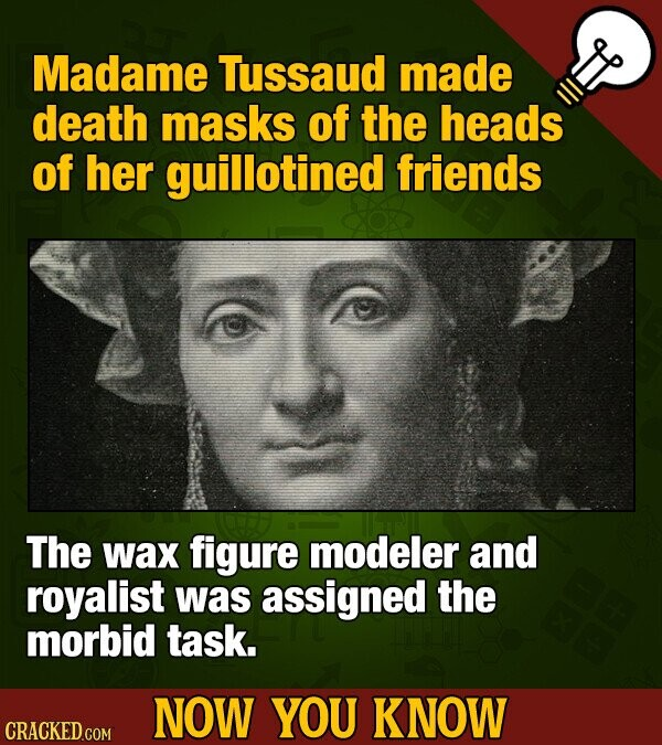 Madame Tussaud made death masks of the heads of her guillotined friends The wax figure modeler and royalist was assigned the morbid task. NOW YOU KNOW CRACKED COM