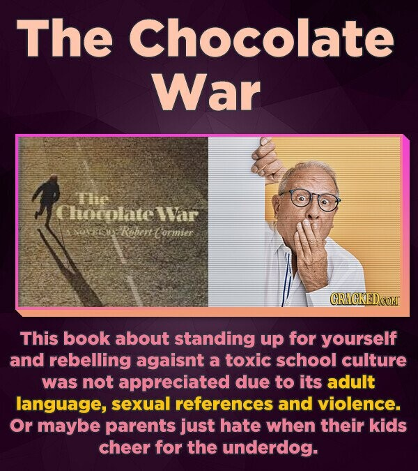 The Chocolate War The Chocolnte Ir bs Rohert ommier CRACKED.COM This book about standing up for yourself and rebelling agaisnt a toxic school culture