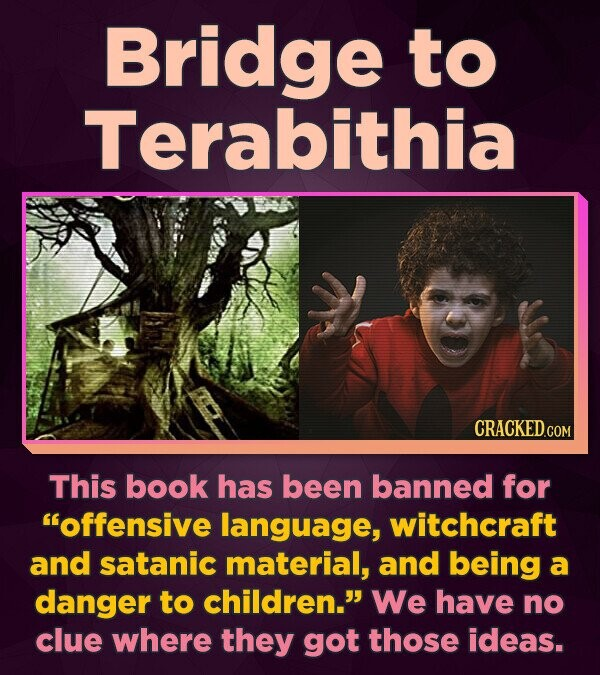 Bridge to Terabithia This book has been banned for Offensive language, witchcraft and satanic material, and being a danger to children. We have no c