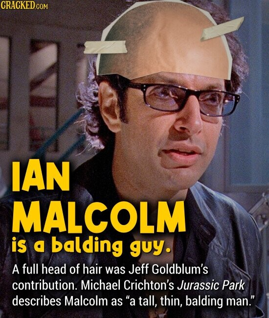IAN MALCOLM is a balding guy. A full head of hair was Jeff Goldblum's contribution. Michael Crichton's Jurassic Park describes Malcolm asa tall, thin, balding man.
