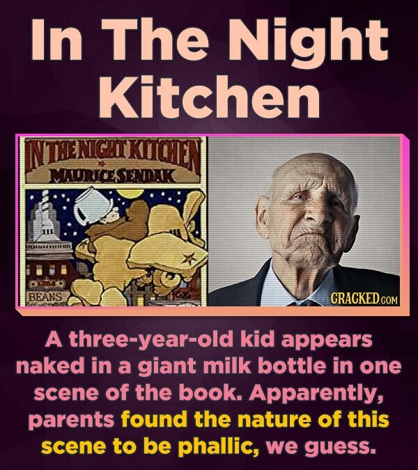 In The Night Kitchen NTHENICHTKIICEN MAURICESENDK BEANS A three-year-old kid appears naked in a giant milk bottle in one scene of the book. Apparently