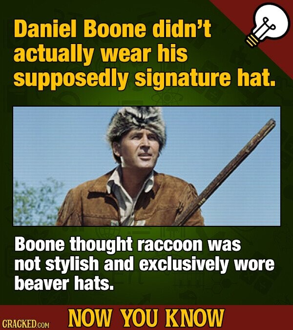 Daniel Boone didn't actually wear his supposedly signature hat. Boone thought raccoon was not stylish and exclusively wore beaver hats. NOW YOU KNOW CRACKED COM