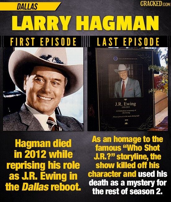 DALLAS CRACKED LARRY HAGMAN FIRST EPISODE LAST EPISODE J.R. Ewing 190.3003 AC J Hagman As homage to the died an famous Who Shot in 2012 while J.R.? storyline, the reprising his role show killed off his J.R. Ewing in character and used his as death the Dallas reboot. as a
