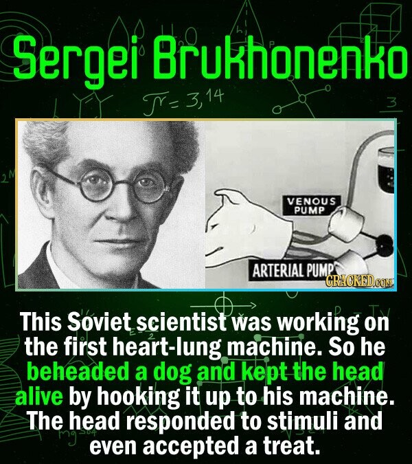 Sergei Brukhonenko TY- 314 14 3 VENOUS PUMP ARTERIAL PUMP CRACKEDCON This Soviet scientist was working on the first heart-lung machine. So he beheaded