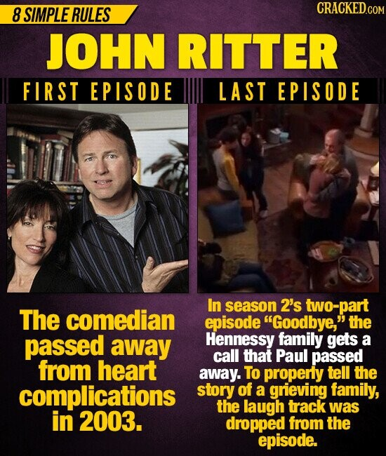 8 SIMPLE RULES CRACKEDcO JOHN RITTER FIRST EPISODE LAST EPISODE In season 2's two-part The comedian episode Goodbye, the passed away Hennessy family gets a call that Paul passed from heart away. To properly tell the complications story of a grieving family, the laugh track was in 2003. dropped from