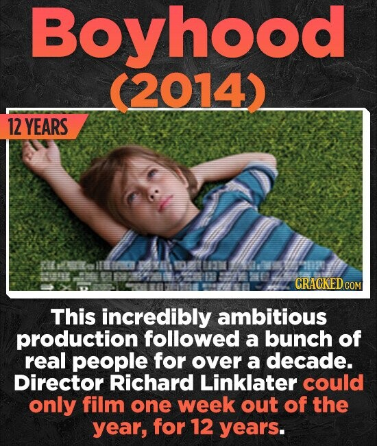 Boyhood (2014) 12 YEARS CRACKED cO This incredibly ambitious production followed a bunch of real people for over a decade. Director Richard Linklater could only film one week out of the year, for 12 years.