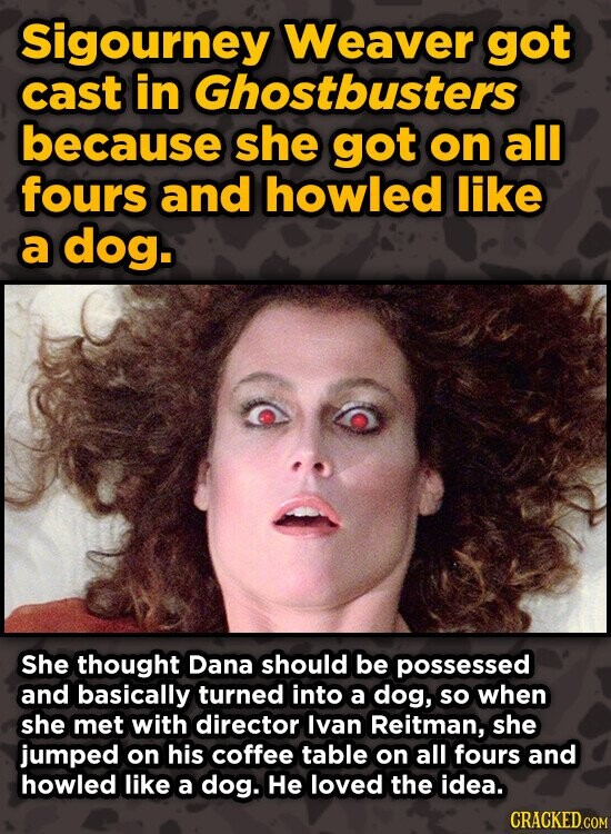 Sigourney Weaver got cast in Ghostbusters because she got on all fours and howled like a dog. She thought Dana should be possessed and basically turned into a dog, so when she met with director Ivan Reitman, she jumped on his coffee table on all fours and howled like a