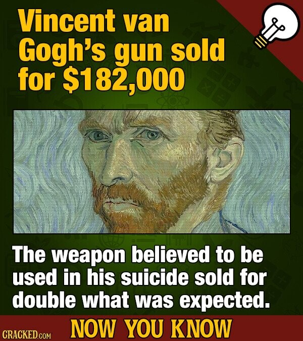 Vincent van Gogh's gun sold for $182,000 The weapon believed to be used in his suicide sold for double what was expected. NOW YOU KNOW CRACKED COM