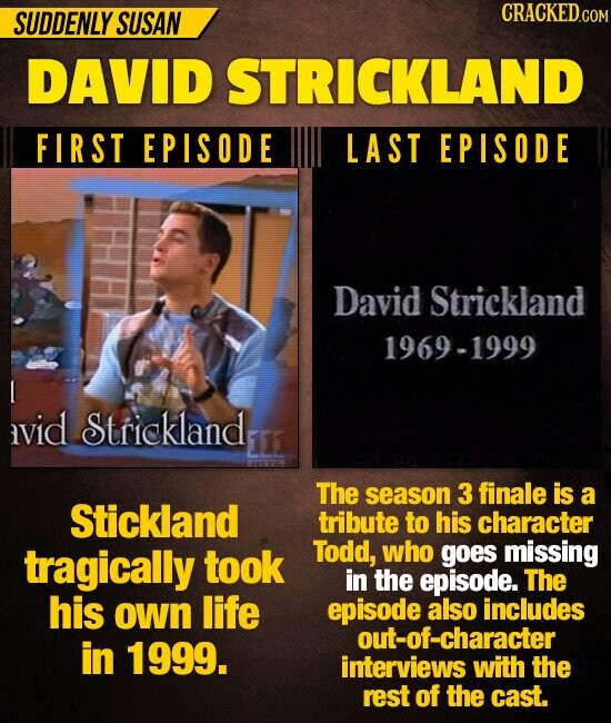 SUDDENLY SUSAN CRACKED DAVID STRICKLAND FIRST EPISODE LAST EPISODE David Strickland 1969-1999 vid Strickland 11 The season 3 finale is a Stickland tribute to his character tragically took Todd, who goes missing in the episode. The his own life episode also includes out-of-character in 1999. interviews with the rest of