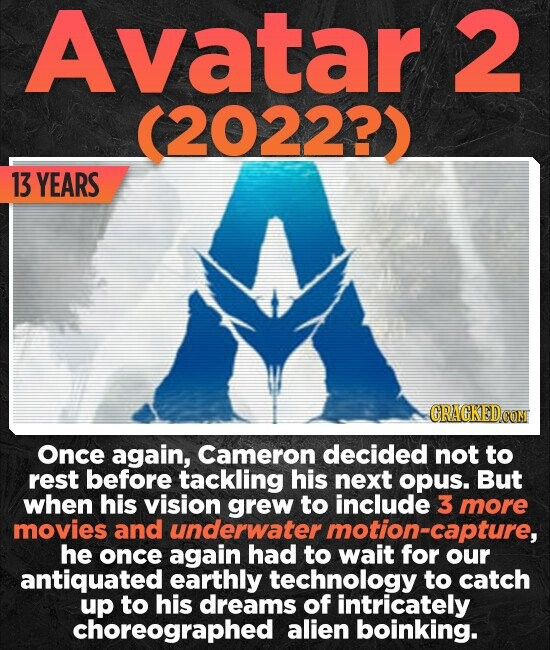 Avatar 2 20222) 13 YEARS CRACKED Once again, Cameron decided not to rest before tackling his next opus. But when his vision grew to include 3 more movies and underwater motion-capture, he once again had to wait for our antiquated earthly technology to catch up to his dreams of intricately