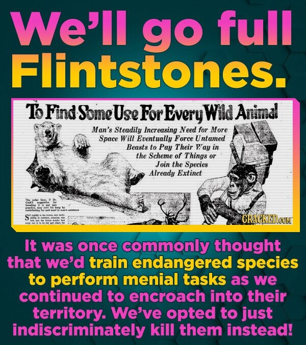 We'll go full Flintstones. Tb Find Some Use For Every Wild Animal Man's Steadily Increasing Need for More Space Will Eventually Force Untamed Beasts t
