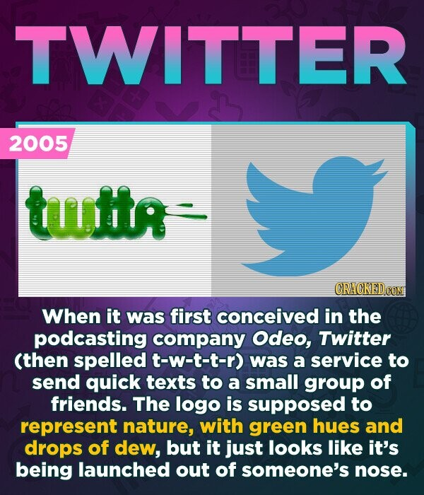 TWITTER 2005 tttr CRACKED CON When it was first conceived in the podcasting company Odeo, Twitter (then spelled t-w-t-t-r) was a service to send quick texts to a small group of friends. The logo is supposed to represent nature, with green hues and drops of dew, but it just looks like
